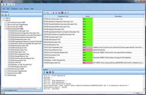 Pass-Fail-Report für USB Compliance Test