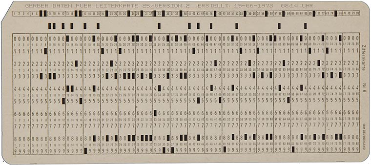 Standard Gerber data on punch cards