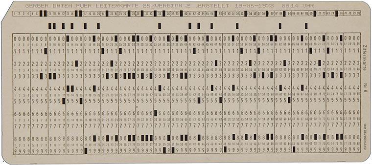 Standard Gerber data on punch cards